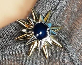 Vintage Liz Claiborne Blue New  Moon Brooch