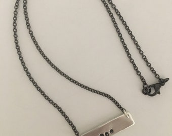 "Hand stamped  Bar necklace in Fine silver-""fierce"""