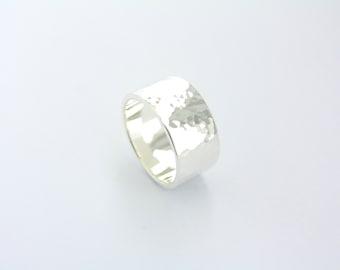 Hammered  ring 10 mm (''0 25/64'') / hammered / handmade ring / hammer ring / hammered band / sterling silver ring / silver ring / wedding /