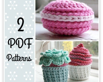 PDF crochet Pattern for CupCake and Macaron