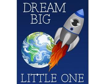 Outer Space Nursery - Rocket Ship - Earth - Space Nursery Decor - Dream Big Little One