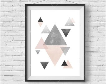 Scandinavian Wall Art, Scandinavian Print, Geometric Art Print, Peach Wall Art, Peach Print, Peach Poster, Triangle Print, Downloadable Art