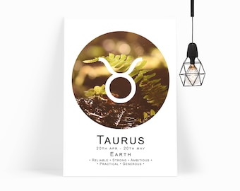 Taurus Star Sign - Star Sign Printable - Taurus Print - Taurus Wall Art - Taurus Gift - Astrology Gift - Taurus Art - INSTANT DOWNLOAD