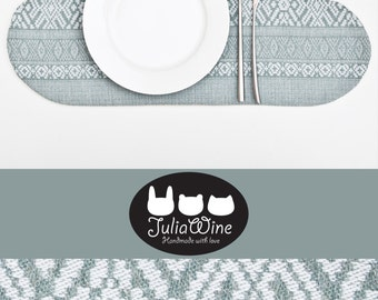 Tribal Placemat, Cloud Linen Placemat, Blue kitchen decor, Table Linens, Blue Placemat, Housewarming Gifts, Table Placemats, Mother Day Gift