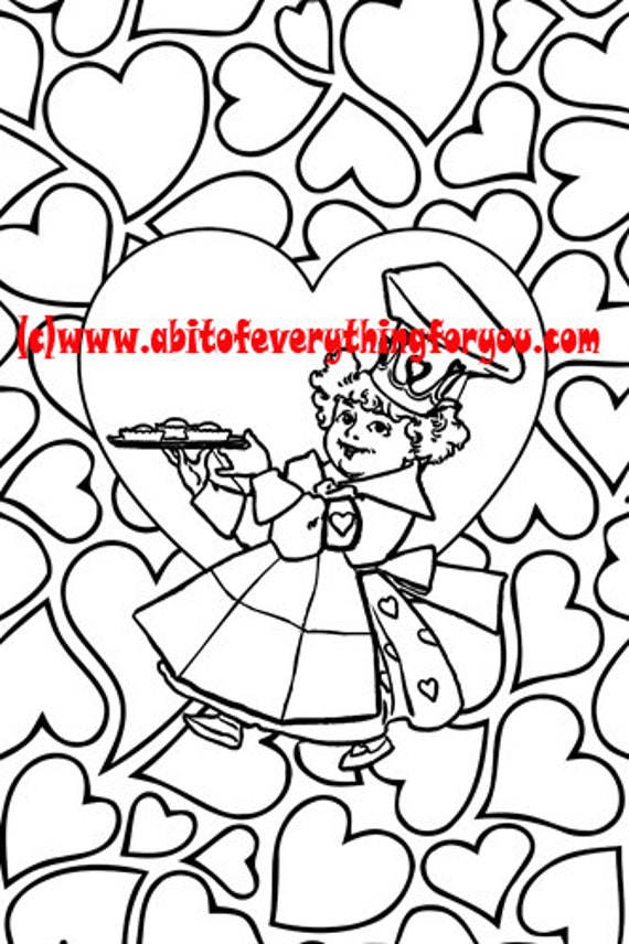 queen of hearts pattern art coloring page printable art download digital kids colouring pages mother goose fairytale image graphics