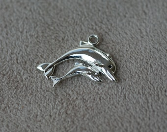 Dolphin Charm, Solid Sterling Silver, Pregnancy, Baby Shower, Welcome Baby Gift for Mom 925s Dolphin Mother and Child Pendant Aleks Jewelry