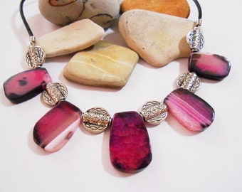 Free Shipping | Pink Agate Slice Statement Necklace & Earrings Chunky Pink Gemstone Jewelry Druzy Crystal Jewelry Raw Natural Slab