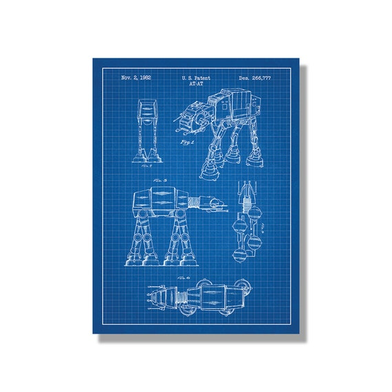 Star wars at at screen print atat blueprint patent poster malvernweather Image collections
