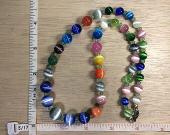 """Vintage 20"""" Multi Colored Cats Eye Beaded Necklace Used"""