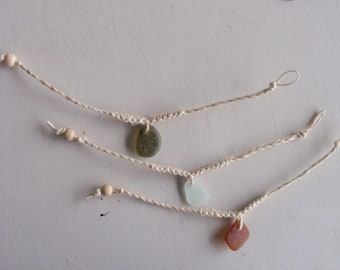 "English sea glass bracelets x3 seafoam,green,amber on natural hemp wooden bean to fasten 8"""