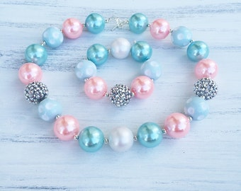 Blue and Pink Bubblegum Necklace - Flower Girl Necklace - Girl Chunky Necklace - Baby Photo Prop - 1st Birthday Necklace