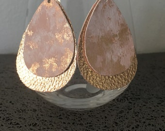 Gold Marble Layered Faux Leather Earrings