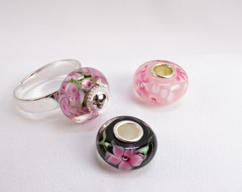 Glass Flower Ring - Pink Rose Ring - Pink and Black Ring - Black Glass Ring - Lampwork Glass Jewelry - Interchangeable Ring Silver R1003
