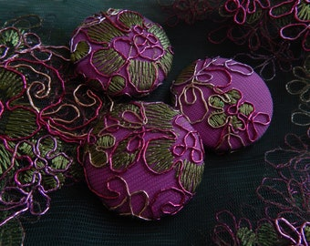 3 purple green embroidered fabric buttons, 1 7/8 inches, 1.9 inches, 4.7 cm, 48.26 mm, size 75 buttons
