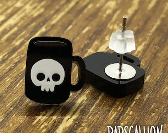 Skull Coffee Mug Earrings