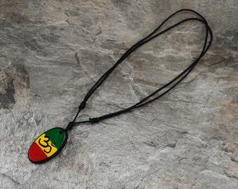 Om Aum Necklace - Hindu Symbol - Mantra Necklace - Wooden Pendant - Namaste Necklace - Meditation Necklace -Rasta Necklace - Yoga Necklace