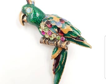 Colorful Rhinestone Enamel Parrot Brooch With Multi Color Rhinestones - Vintage Bird Pin, Bird Brooch, Parrot Pin, Tropical Jewelry
