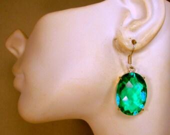 Large Blue Green Quartz Dangle Earrings, Like BIG Bluish Emeralds, Silver Bezel Setting, Polished GLAM JEWELS, Thrones Game Wire Dangles