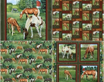 Valley Crest Horse Cotton Fabric by Springs Creative! [Choose Your Cut Size]