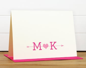 ARROW Personalized Stationery Set - Personalized Stationary Set - Custom Personalized Notecard Set - Monogram Couple Engagement Gift Heart