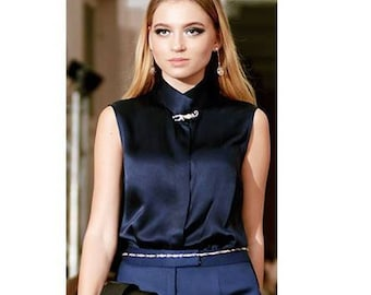 Silk blouse. Blue blouse. High fashion.  Evening outfit