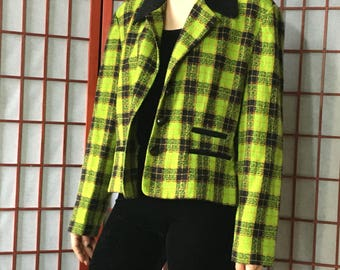 Vintage Acid Neon Green Plaid Jacket