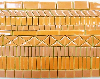190+ Mosaic Tiles Handmade Ceramic Crafting Tile Pieces Stoneware Orange Coral Tones Glazed Craft Tile Assortment #3P