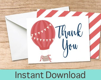 Hot Air Balloon Thank You Card, Printable Thank you Cards, Thank You Instant Download, Red Birthday Thank You Card