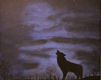 Night Howler. An original acrylic painting on an 8x10 stretched canvas.