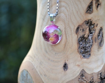 Real flower jewellery, rose pendant, sterling silver, real rose petals, botanical jewellery, encasing nature