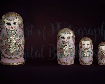 Newborn Baby Digital Background / Backdrop Matryoshka Dolls / Russian Nesting Dolls Pink and Gold