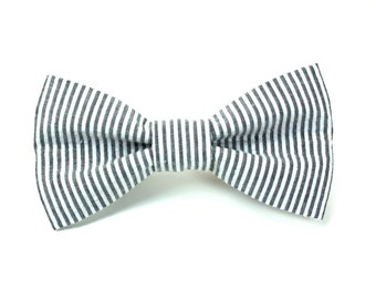 Gray and White Seersucker Striped Removable Dog Bow Tie / Made to Order