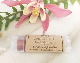 Chocolate Raspberry Tinted Lip Balm • Lip Balm • Vegan Lip Tint • Natural Chapstick