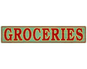 Groceries Store Wall Decal Green Wood-Look #50136