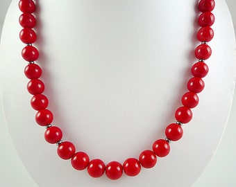 Bright Red Necklace Red Glass Necklace Bright Red Bead Necklace Red Gun Metal Necklace Bright Red Strand Short Red Necklace