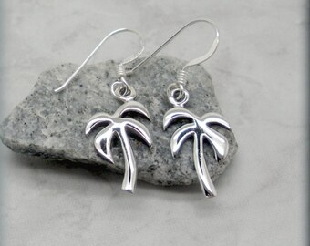 Palm Tree Earrings, Sterling Silver, Summer Earrings, Beach Earrings, Beach Jewelry, Tropical Earrings, Dangle, Minimalist, Nature