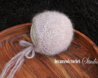 Newborn baby photo prop bonnet. Made from high quality italian silk mohair yarn. Size 0-1 month.