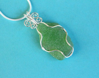 Natural Sea Glass Necklace, Sterling Silver Necklace, Green Sea Glass Pendant, Wire Wrapped Sea Glass, Spiral Necklace, Beach Glass Necklace