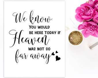 We Know You Would Be Here Today If Heaven Wasn't So Far Away Wedding memorial sign Memorial sign In loving memory Wedding decor idwm46