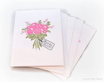 Floral Bouquet Thank You Card Set, Blank Note Cards, Wedding Thank You Cards, Bridal Shower Cards