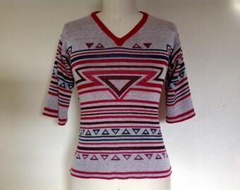 1970s geometric knit top