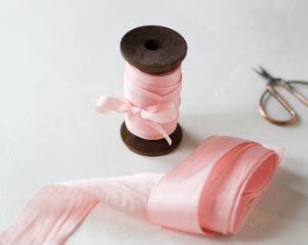 "Soft Pink Hand-Dyed Silk Ribbon (with Wooden Spool) - 5 yards - 1.25"" wide"