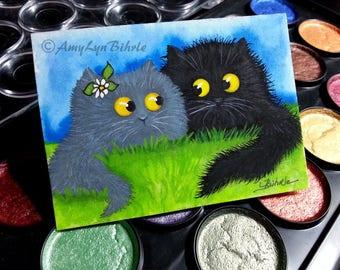 Curious Kitties Fuzzy Black Cat & Friends Daisy - Bihrle Original ACEO Art CK516