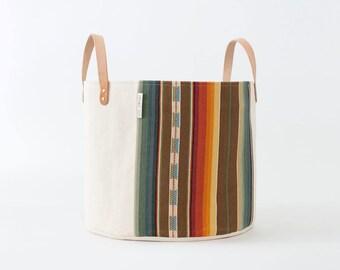 Medium Natural Canvas Bucket Basket: Brown + Orange