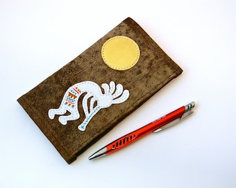 Kokopelli Duplicate Checkbook Cover with Pen Holder Southwestern Style Matte Leather Checkbook Holder Southwest Appliqued Checkbook Register