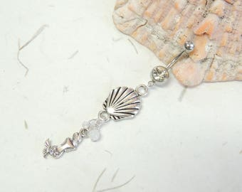 Mermaid Seashell Dangle Belly Ring, Belly Button Jewelry, Mermaid Jewelry, Mermaids Lover