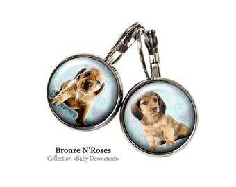 Earrings * dogs * baby puppy girl gun metal Stud Earrings