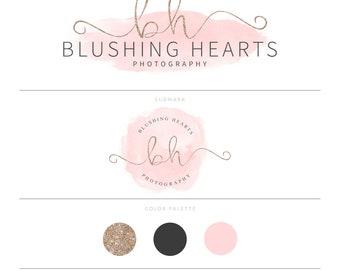 Watercolor Logo Blush Pink Logo Rose Gold Logo Glitter Logo Photography Logo Watermark Lash Logo Doula Logo Eyelash Logo Branding Package