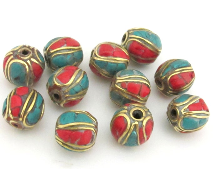 4 Beads - Nepal Brass beads with turquoise coral inlay - BD647