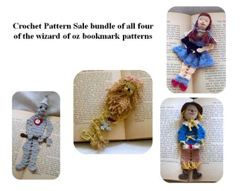 wizard oz bookmark pattern sale, crochet pattern sale bundle, wizard of oz crochet decorations instructions, thread crochet decor diy